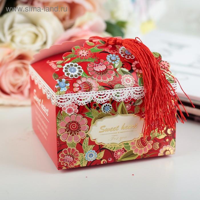 Подарочная коробка сборная 10 х 10 х 6 см