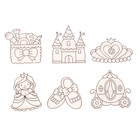 Витражи - мини  6 шт.:Принцесса, замок, карета, корона, туфельки, косметичка SDOPP-S10
