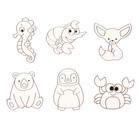 Витражи - мини  6 шт.:Морской конёк, рак, краб, пингвин, панда, ушастый лисёнок SDOPP-S11
