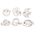 Витражи - мини  6 шт.:Морские рыбки SDOPP-S17