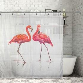 """Штора для ванной 180х180 см """"Фламинго"""", полиэстер"""