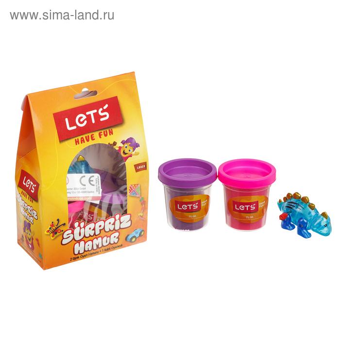 Тесто для лепки 2 цвета по 75 гр, заводная игрушка МИКС, цвета МИКС LETS