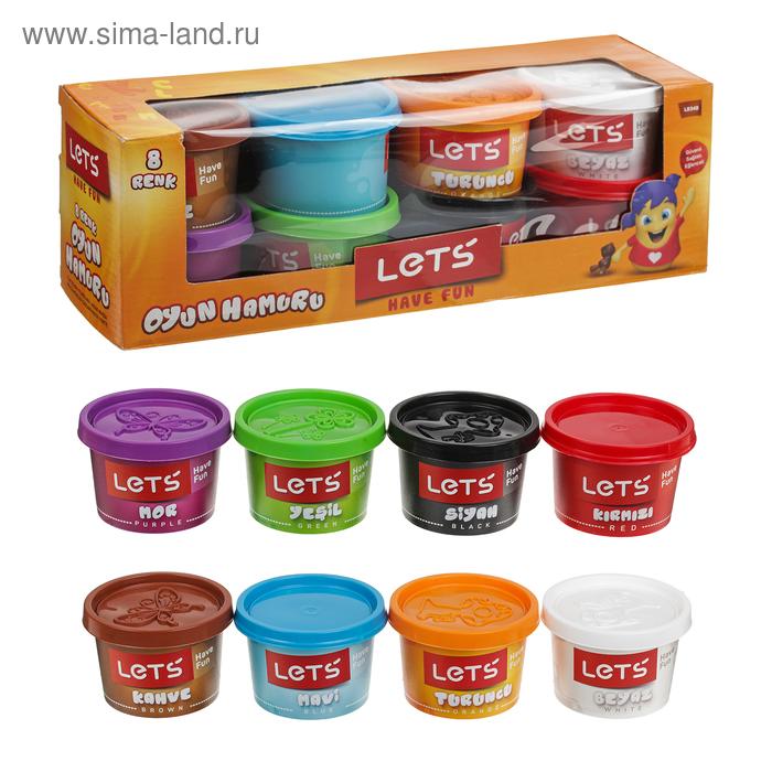 Тесто для лепки 8 цветов по 100 гр, цвета МИКС LETS