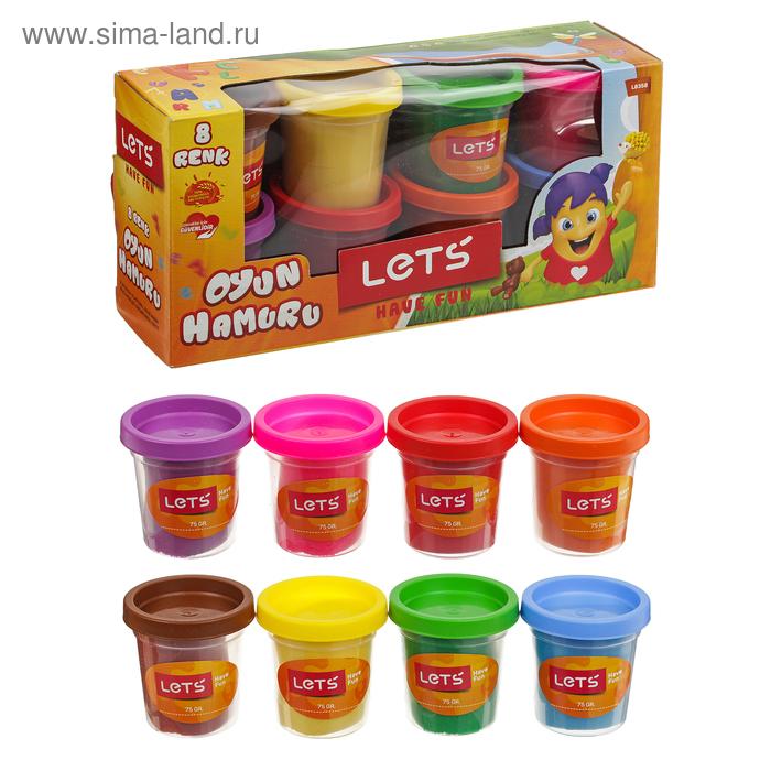 Тесто для лепки 8 цветов по 75 гр, цвета МИКС LETS