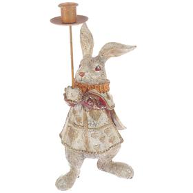 """Сувенир полистоун подсвечник """"Белый кролик в мантии"""" 31х10х13,5 см"""