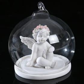 """Сувенир полистоун """"Ангелочек в розовом веночке в стеклянном шаре"""" МИКС 8,5х7,5х7,5 см"""