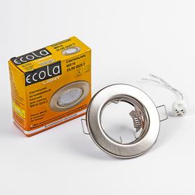 Светильник встраиваемый Ecola Light, DL90, MR16, GU5.3, плоский, Сатин-Хром, 30x80