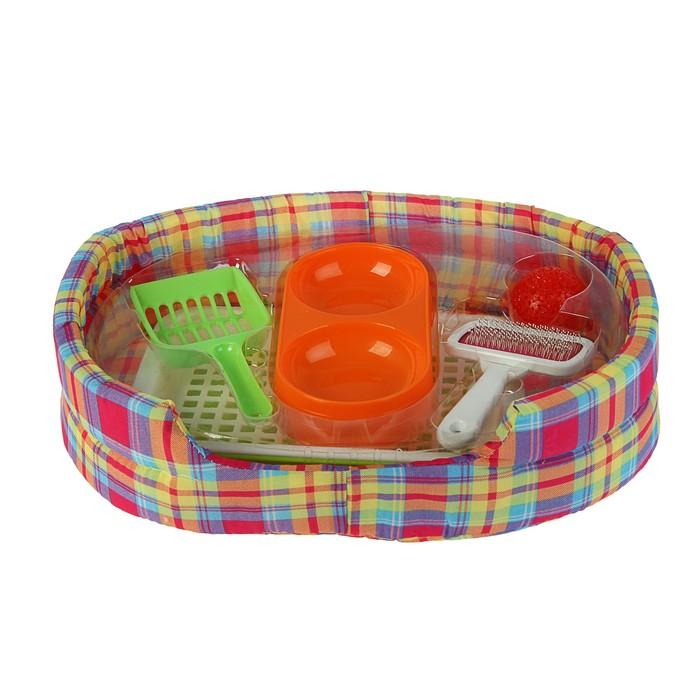 Стартнабор для котенка (миска, лоток, совок, игрушка, пуходерка, лежанка) 42х28х10 см УЦЕНКА