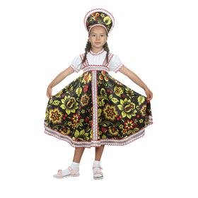 """Русский народный костюм """"Хохлома"""", платье, кокошник, цвет чёрный, р-р 34, рост 134 см"""