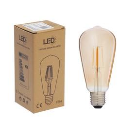 Лампа светодиодная ретро, ST64, E27, 4w, теплый свет,золотистая
