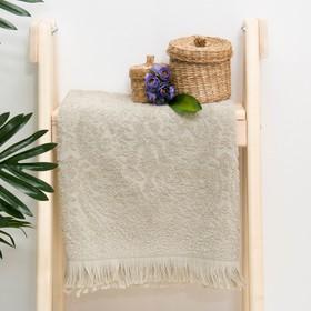 "Полотенце махровое жаккард ""Seville"" 70х130 см, цв.серый шато,  340 г/м2, 100% хлопок"