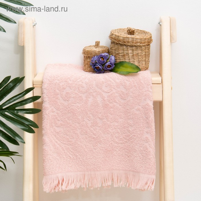 "Полотенце махровое жаккард ""Seville"" 47х90 см, цв.розовый, 340 г/м2, 100% хлопок"
