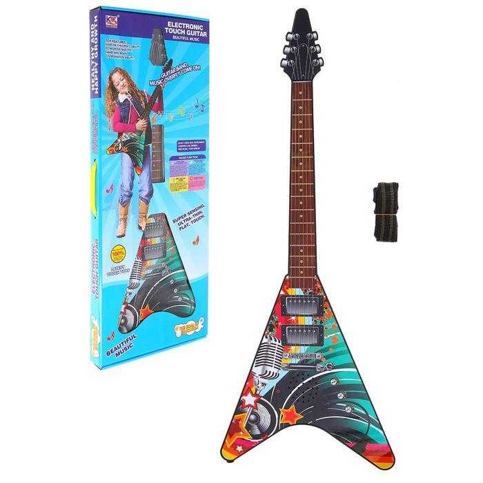 """Гитара сенсорная, """"Рок-звезда"""", треугольная, световые и звуковые эффекты, работает от батареек"""