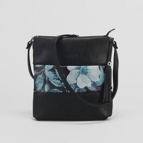 Сумка жен В2281, 30*6*31, 1 отд на молнии, н/карман, регул ремень, черный/ цветы голубые Ош