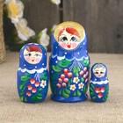 Матрёшка «Наливные яблочки», 3 кукольная, голубой платок, голубое платье, 10 см