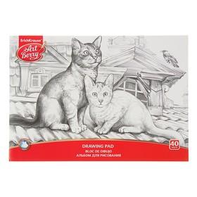 Альбом для рисования А4, 40 листов на клею ArtBerry, Графика: домашние любимцы, EK 43207 Ош