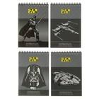Блокнот А6, 60 листов клетка на спирали Darth Vader, серебро + пантон + неон, EK 40766
