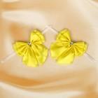 Бант свадебный для декора «Двойной с бусинами» D-9 см 2 шт,цвет желтый