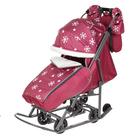 Санки-коляска Pikate Снежинки, цвет малиновый