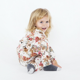 Костюм для девочки (толстовка, брюки), рост 98 см, цвет молочный, принт цветы ОКФ-10-1