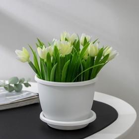 Горшок с поддоном 0,5 л 'Афина', цвет белый Ош
