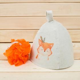 Детский банный набор: шапка и мочалка 'Моей лисичке' Ош
