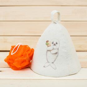 Детский банный набор: шапка и мочалка 'Моему тюленьчику' Ош