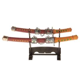 Сувенирное оружие «Катаны на подставке», коричневые ножны с жёлтыми ромбами Ош