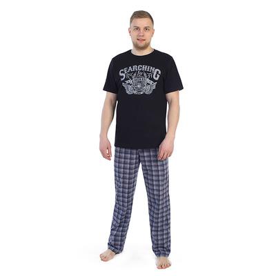 Комплект мужской (футболка, брюки) 945а цвет сине-серый, р-р 46