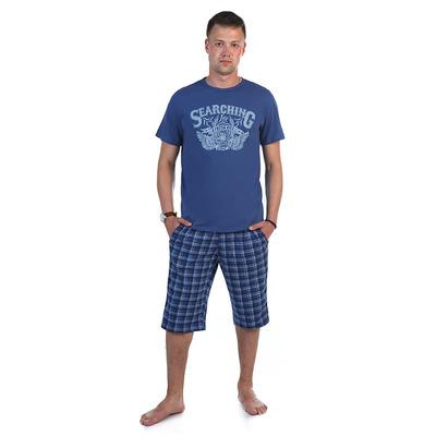 Комплект мужской (футболка, шорты) 886 цвет индиго, р-р 46