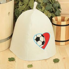 Банная шапка с вышивкой  'Сердце' футбольный мяч, первый сорт Ош