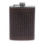Фляжка 270 мл, кожзам, шахматная, коричневая, 10х14.5 см