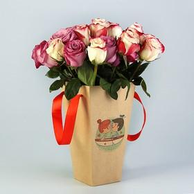 "Пакет для цветов ""Двое в лодке"", 9 х 15 х 27 см"