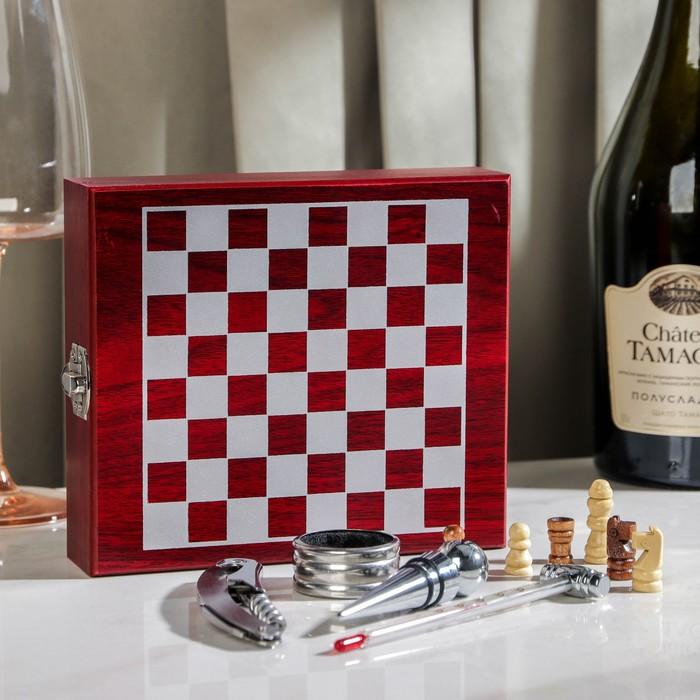 Набор для вина, 4 предмета (шахматы + термометр + кольцо + открывашка + пробка)