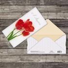 Конверт для денег «8 марта», алые тюльпаны, 16,5 х 8 см