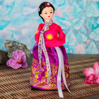 """Кукла коллекционная """"Маленькая девочка в национальном платье розово-фиолет."""" 23х9,5х9,5 см"""