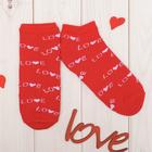 "Носки женские короткие  Collorista ""Love"", красн. р-р 23-25, хл 80%, п/а 17%, эл 3%"