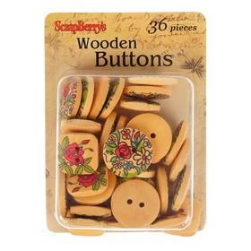 Набор деревянных пуговичек с принтом, 36 шт,  размер 15 мм и 18 мм