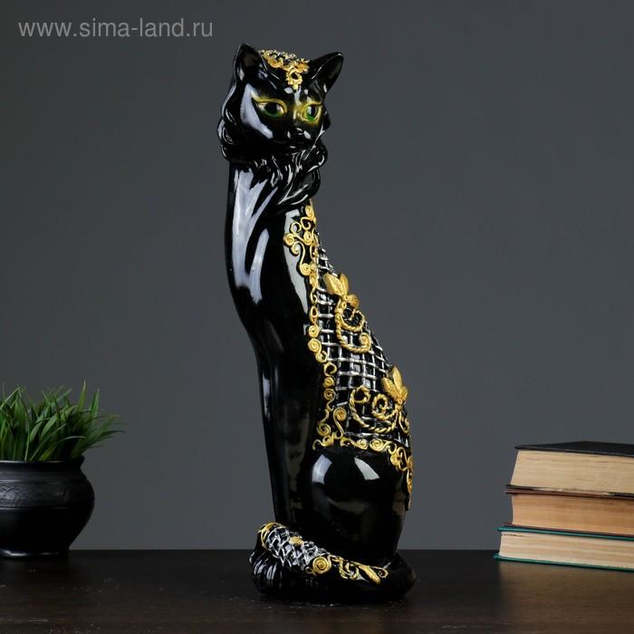 "Сувенир ""Кошка Маркиза"" орнамент сетка, ручная работа, чёрно-золотая, микс"