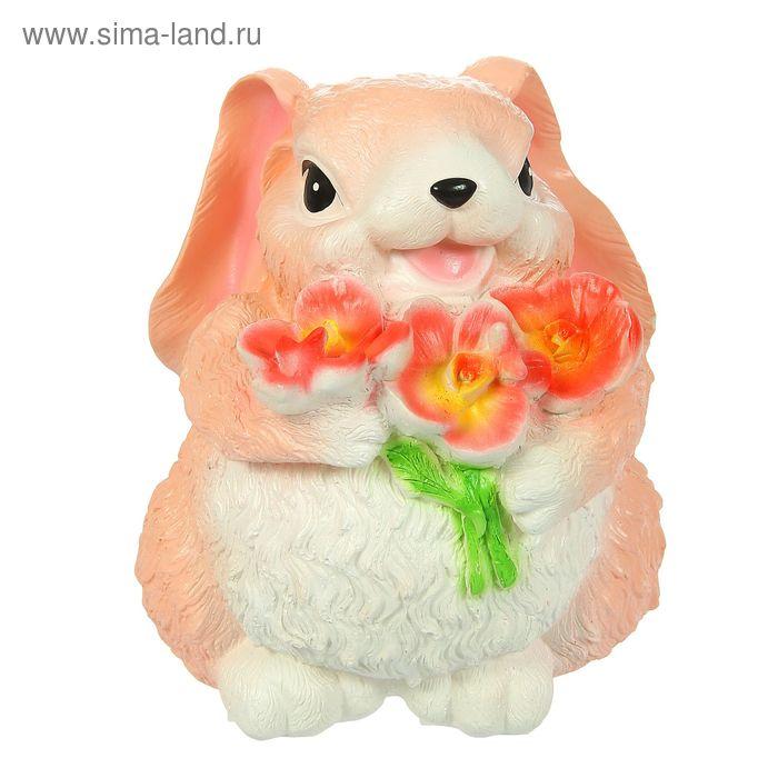 """Копилка """"Заяц с цветком"""" большая, розовая"""