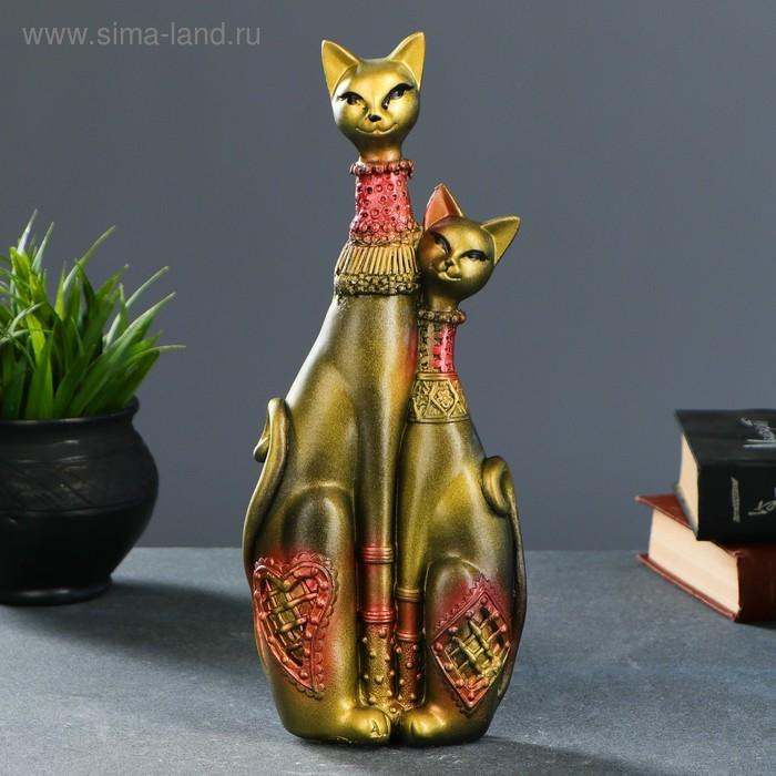 """Сувенир """"Кошечки Сладкая парочка"""" черные с золотом"""