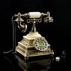 Телефон ретро полистоун. Белый на квадратной подставке с металлической резьбой 24*19 см