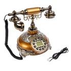 Телефон ретро полистоун. Медный на круглой подставке с металлической резьбой 24*19 см