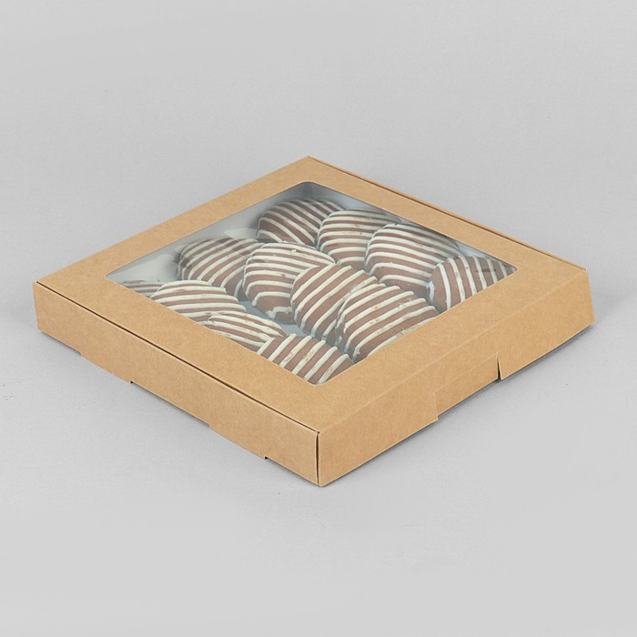 Коробка самосборная бесклеевая, крафт, 21 х 21 х 3 см