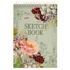 """Блокнот-скетчбук А5, 80 листов на гребне """"Вальс цветов"""", твёрдая обложка, блок 100 г/м2"""