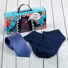 "Набор детский ""Маленький мужчина"" галстук 28 см, носки 14 р-р, п/э, синий"
