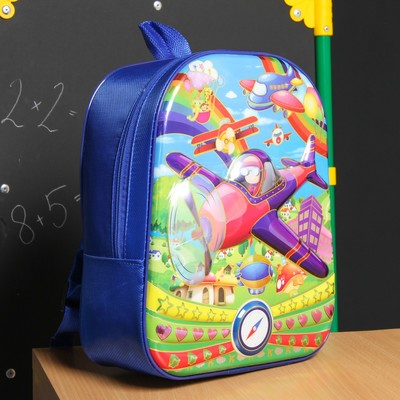 Рюкзак школ Самолет, 27*18*32, отдел на молнии, синий