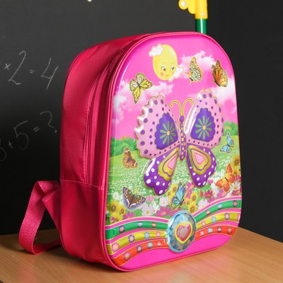 Рюкзак школ Бабочки, 27*18*32, отдел на молнии, розовый