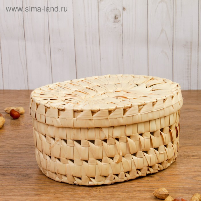 Коробка овальная, белая, из листьев пальмы