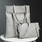 Сумка женская 2 в 1 на молнии, 1 отдел, сумка на длинном ремне, цвет серый
